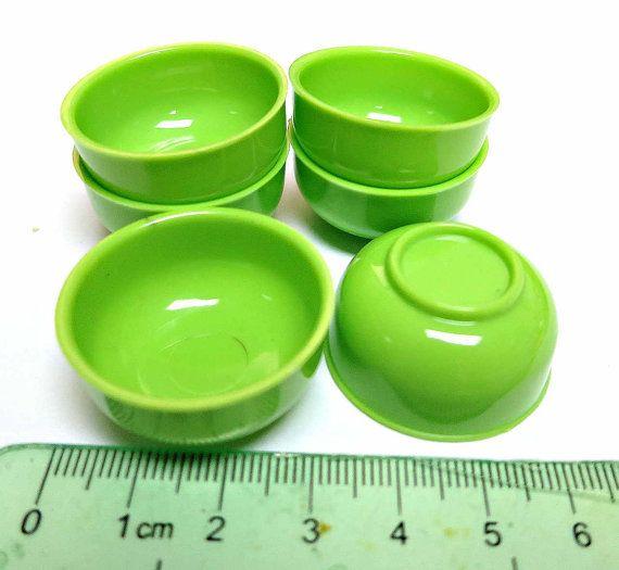 Miniature Plastic Bowl 6 pcs Green  3CMD by HongKongMiniatures