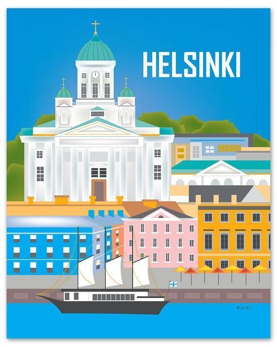 Helsinki Art, Helsinki Skyline Print, Finland Wall Art, Helsinki, Finland Travel Print, Helsinki Nur