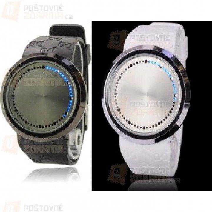 Unisex LED hodinky s modrými LED diodami, na výběr černé a bílé a poštovné ZDARMA!