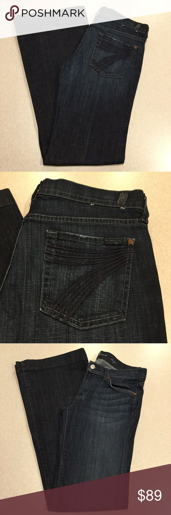 7 For All Mankind Jeans 30X35 Dojo New York Dark! ❗️PRICE ABSOLUTELY FIRM❗️ 7 for all mankind jeans Size 30 35 inch long unaltered inseam (hard to find!) The dojo in New York dark Famous blue stitched 7 back pockets Vibrant blue stretch denim with medium fading Perfect preowned condition, no flaws Retailed for $212.00 My dojos sell fast so don't wait on these!  All of my items come from a smoke free, pet free home and are authenticity guaranteed! Please ask any questions. 307-8 7 For All…