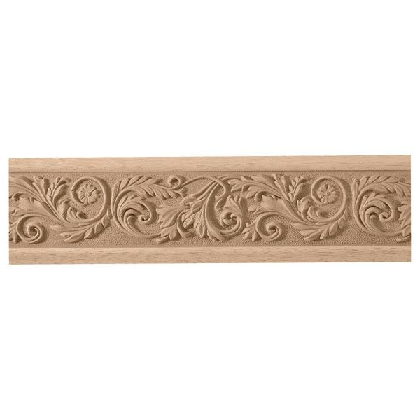 3 3 4 Inch H X 7 8 Inch P X 93 Inch L Leaf With Flower Frieze Moulding Wood Crown Molding Wooden Main Door Design Wood Appliques