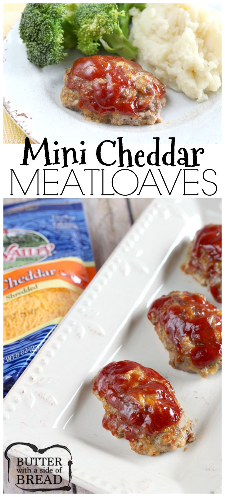 Easy dinner idea- Mini Cheddar Meatloaves! Trust me, adding cheese makes a big difference- YUM. Easy recipe from Butter With a Side of Bread AD