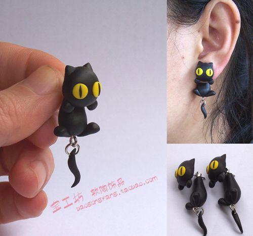 Diy polymer clay soil earring accessories black cat ear stud earring personality fashion earrings $5.45