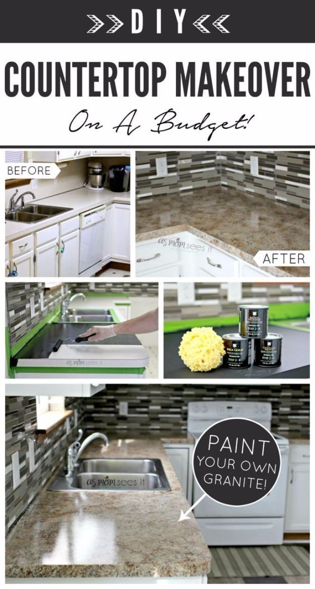 DIY Kitchen Makeover Ideas - Kitchen Remodel With Granite - Cheap Projects Projects You Can Make On A Budget - Cabinets, Counter Tops, Paint Tutorials, Islands and Faux Granite. Tutorials and Step by Step Instructions http://diyjoy.com/diy-kitchen-makeovers