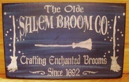 Halloween Witch Sign Salem Broom Co. Primitive Folk Art Witchcraft | SleepyHollowPrims $24