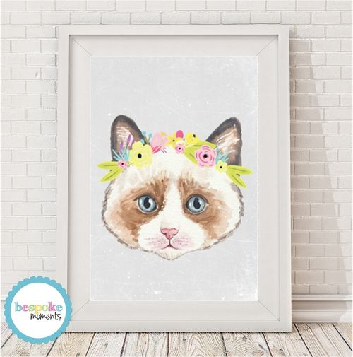 Kitten Flower Crown Print by Bespoke Moments. Worldwide Shipping  Available.