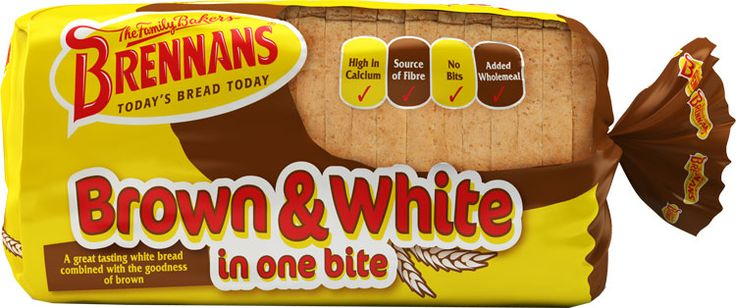 Brennans Brown & White in one bite - A great tasting white bread with the goodness of brown, with added wholemeal, high in Calcium, a source of fibre and has no bits. Now available in USA $6.39