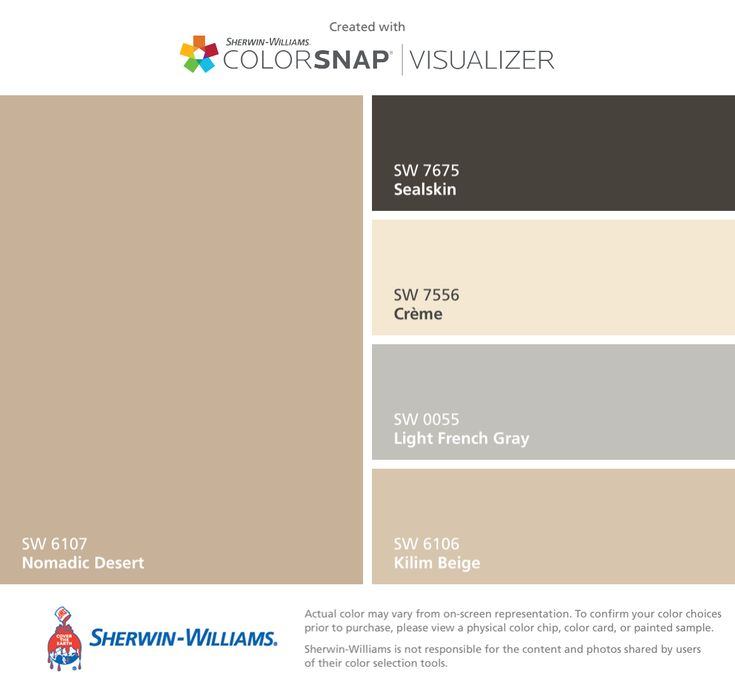 I found these colors with ColorSnap® Visualizer for iPhone by Sherwin-Williams: Nomadic Desert (SW 6107), Sealskin (SW 7675), Crème (SW 7556), Light French Gray (SW 0055), Kilim Beige (SW 6106).