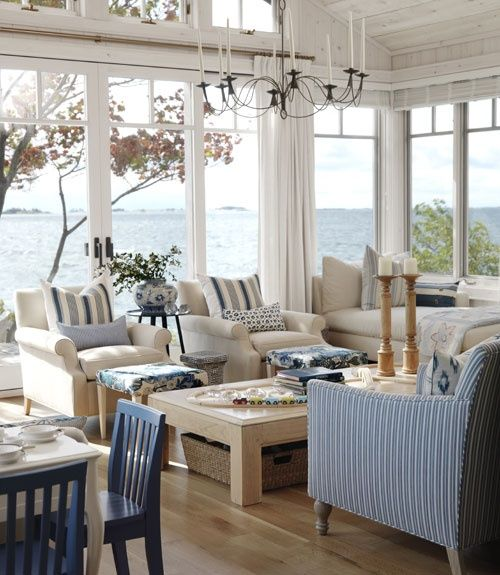 The Hamptons Beach House Living Room is really Fab Canadian designer Sarah Richardson's Ontario cottage! Watch her show on her cottage makeover for great ideas!!