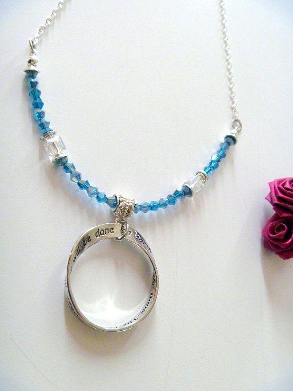 The Lord's Prayer Circle Pendant Aqua Crystal Beaded Long Necklace #Handmade #Beaded