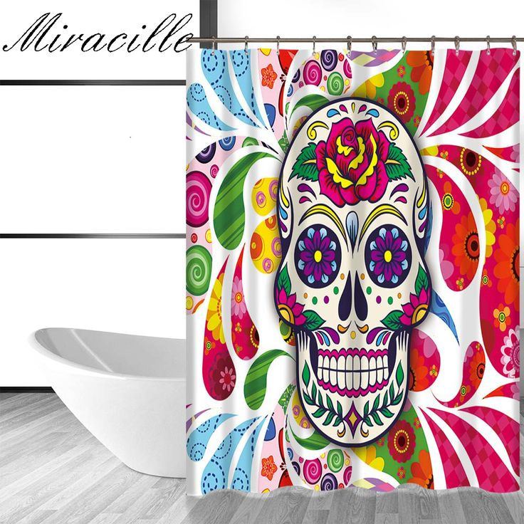 Miracille Modens Sugar Skull Printed Bath Curtain Home Decorative Shower Curtains Bathroom Accessories with 12 Plastic Hooks