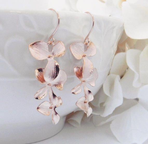 Regalo del día de las madres pendientes - orquídea pendientes - joyería de la boda de joyas de oro - aretes de Dama de honor - rosa - regalos para ella - Rose Gold