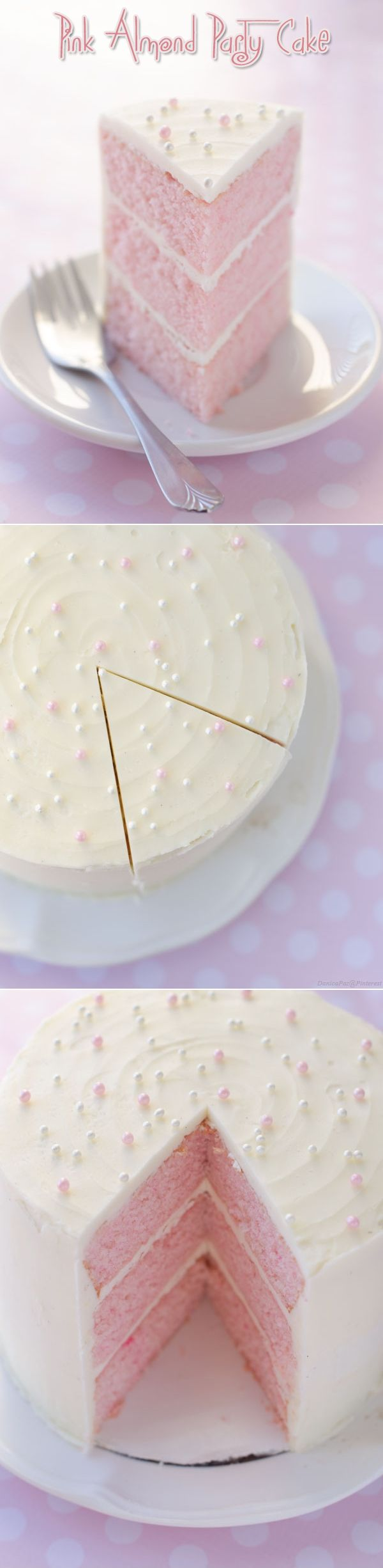 Pink Almond Party Cake: A light and fluffy cake topped with sugar pearls, which automatically makes it festive (and fancy!) This little cake is the perfect size for a small gathering...enough cake for everyone with a piece or two left over!