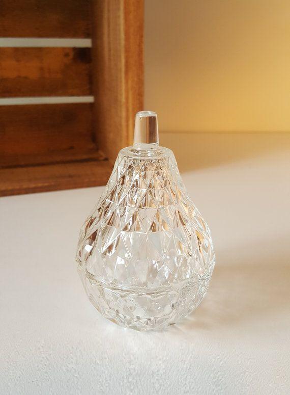 Vintage Glass Lidded Dish Pear Shaped Glass Jar by RetroEnvy21