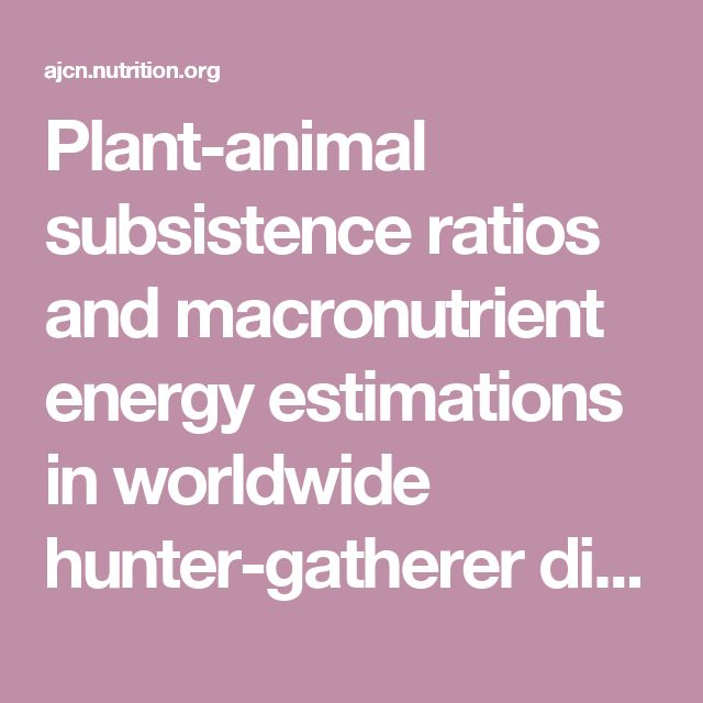 Plant-animal subsistence ratios and macronutrient energy estimations in worldwide hunter-gatherer diets