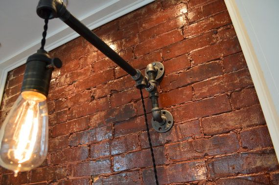 Industrial Pipe Wall Light by WestNinthVintage on Etsy, $116.00