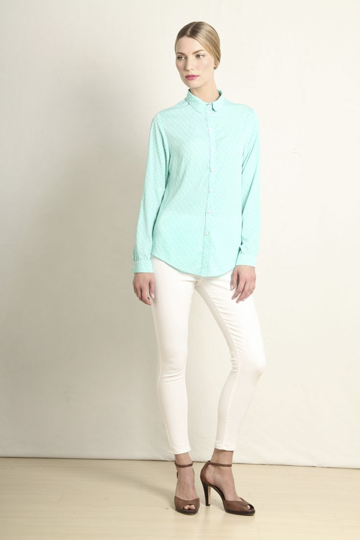 Audrey shirt in mint polka dot  GB208-MNT  R460.00  www.georgieb.com