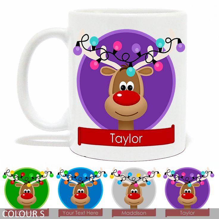 Personalised Christmas Mug - Rudolph Reindeer With Antler Lights - Banner