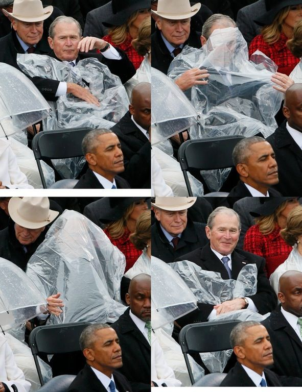 Bush battles plastic poncho ... I love that he just laughs about iy