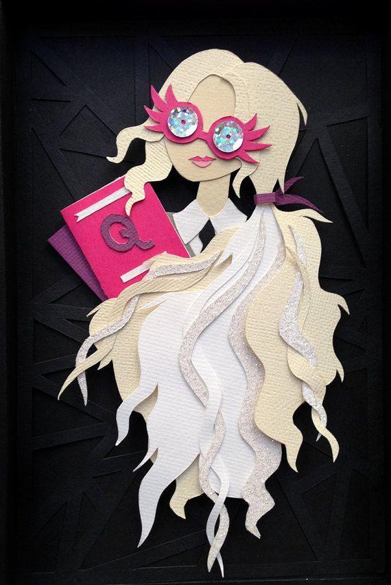 Spectrespecs de Luna Lovegood, Harry Potter, corte de papel, Collage, arte de papel, vasos de Luna Lovegood
