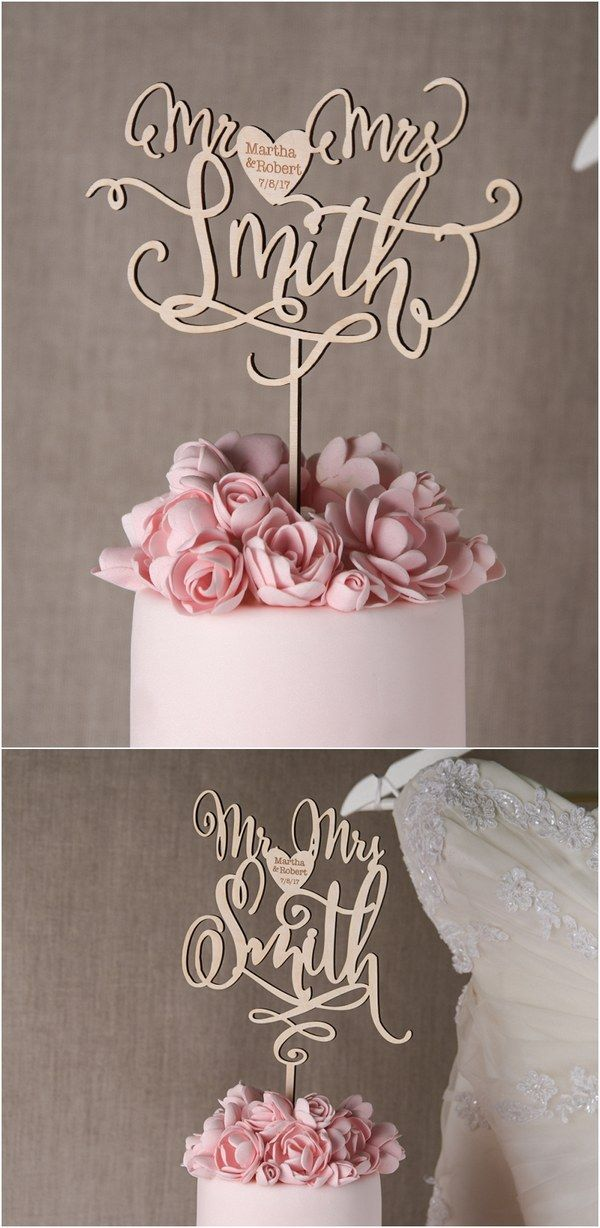 Rustic country real wood leaser cut wedding cake topper @4LOVEPolkaDots