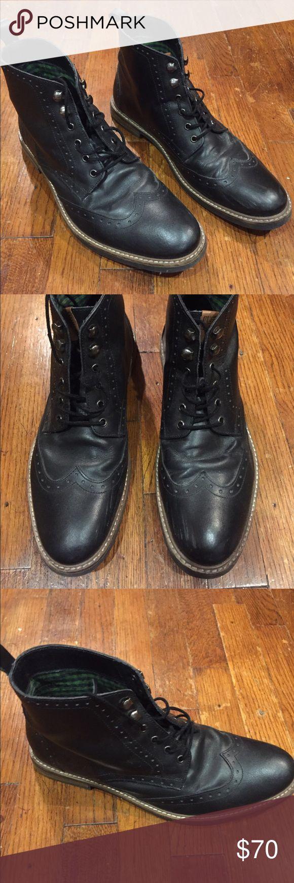 Birk Wingtip Boot Ben Sherman black men's boots. Minimal visible scuffing. Ben Sherman Shoes Boots