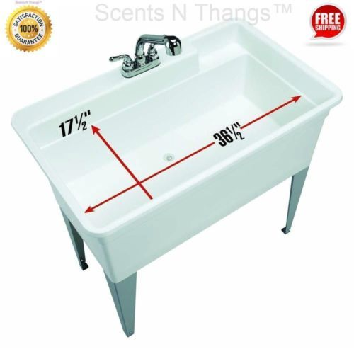 Utility-Sink-Large-Pet-Bath-Spa-40-034-Basin-Dog-Wash-Tub-Laundry-Garage-Faucet