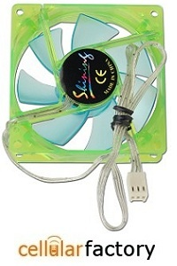 "Keep air moving with this 3"" x 3"" (80mm) UV Reactive Sleeve Bearing Case Fan w/Blue & Green LEDs & 3-Pin Connector (Green/Blue) .Connect it to your PC using the included 3-pin power connector! This fan features a DC 12V fan that can prevent hot air pockets from forming in your case!."
