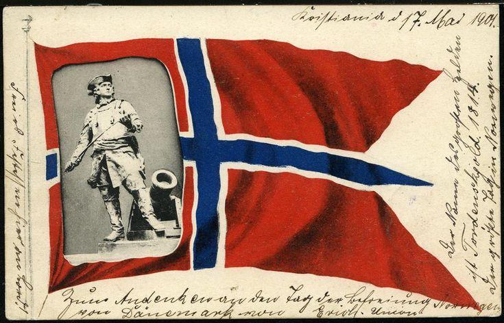 Patriotisk kort Det rene norske flagg med et bilde av statuen av Peter Wessel Tordenskjold ved kanon innfelt. Postgått 1901