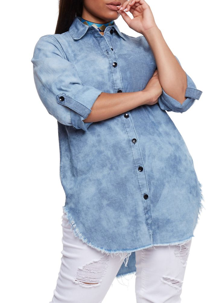 Plus Size Button Front Denim Tunic Shirt,MEDIUM WASH,large