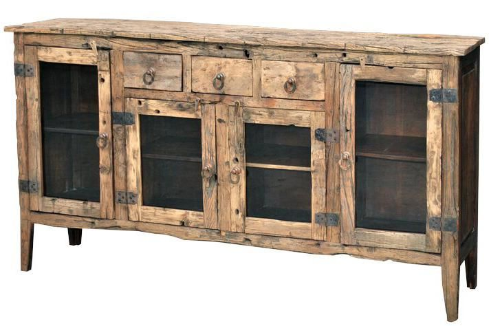 Jaipur Furniture Vintage London Distressed Reclaimed Wood 3 Drawer 4 Door Jumbo Sideboard