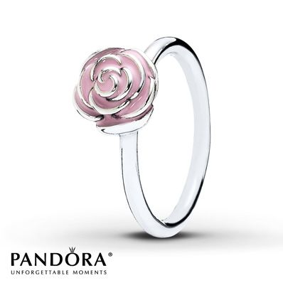 A single rose featuring pink enamel accents on the petals graces this lovely sterling silver ring from the PANDORA Mother's Day 2014 collection. Additional sizes may be available through special order at your nearest Jared location. Style # 190905EN40-54.