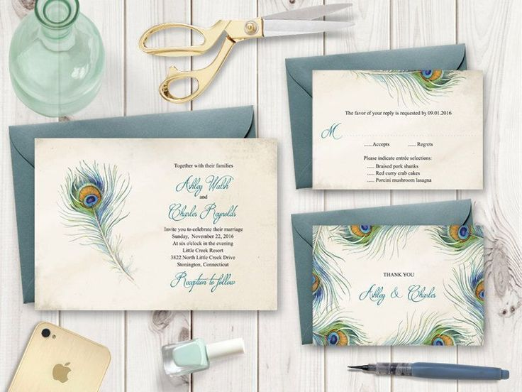 "Printable Wedding Invitation Set ""Peacock Feather"". DIY Wedding Templates - Invite, RSVP Card & Thank You Note. Instant Download, MS Word. by ShishkoTemplates on Etsy https://www.etsy.com/listing/286309089/printable-wedding-invitation-set-peacock #weddinginvitationwording"