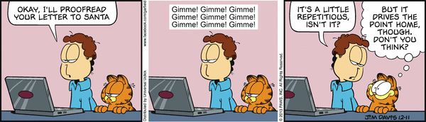 Garfield Cartoon for Dec/11/2013