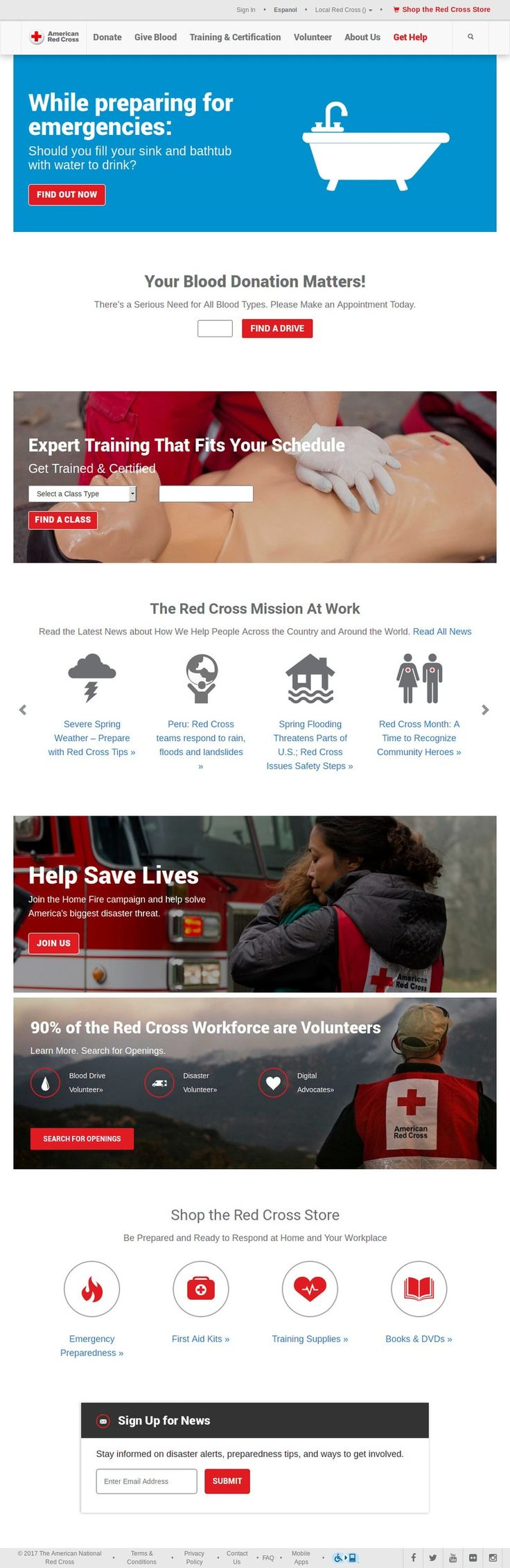 Screenshot of the www.redcross.org homepage by Snapito