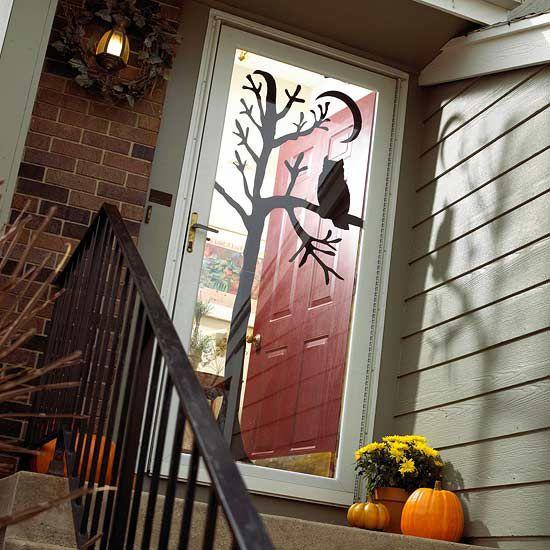 Silhouette Door ArtDecor Ideas, Halloween Decor, Doors Decor, Fall Halloween, Front Doors, Halloweendecor, Glasses Doors, Halloween Doors, Halloween Ideas
