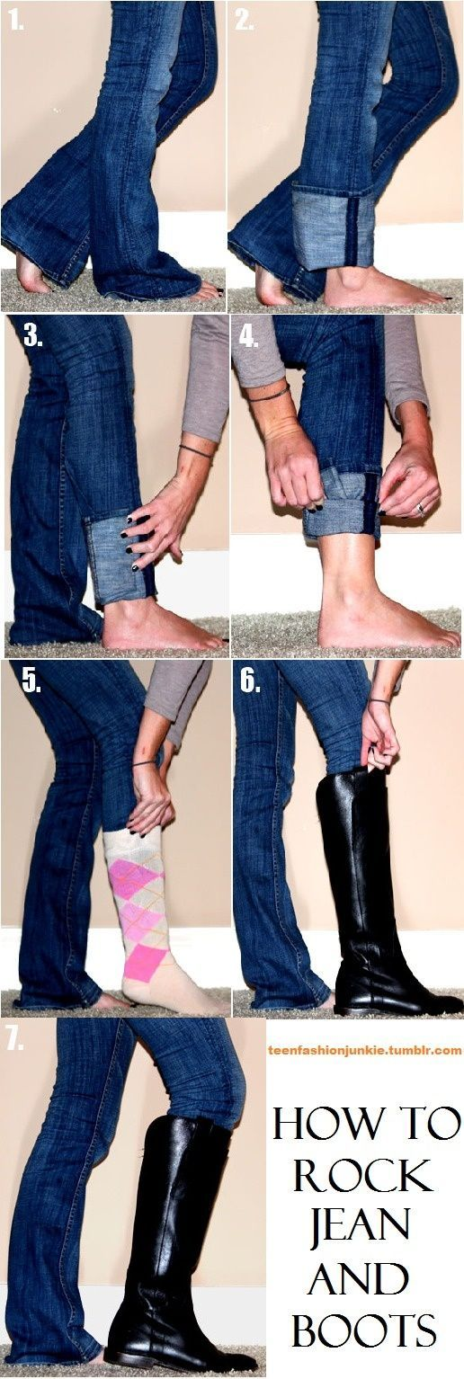 how to get flare jeans to fit into boots - more → http://denisefashiondesignerclothes.blogspot.com/2012/05/how-to-get-flare-jeans-to-fit-into-boots.html