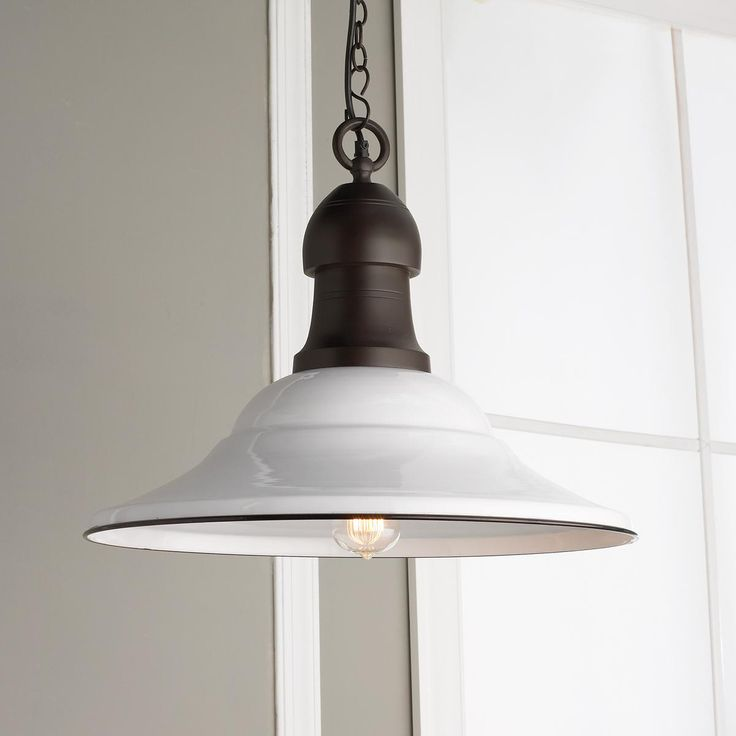 "21"" White Enamel Pendant Light Industrial Chic Pinterest"