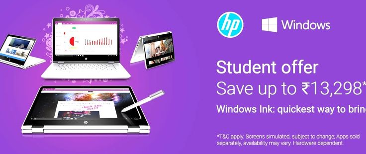 Flipkart's Student Offer for HP Laptops  Flipkart's Laptop Offer for Student  Student Offer  Windows Ink : quikest way to bring ideas to life  checkout at http://fkrt.it/WVFvK!NNNN  Disclaimer - All the products and all the information related to them like release date-time available time-date for purchase all offers discounts information etc. are solely right and discretion of the Websites (eCommerce or other ) on which these products are made available and they change from time to time. So…