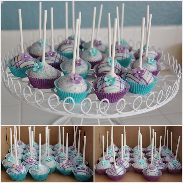 Purple & Aqua Cake Pops