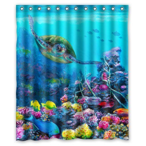 Fashionable Bathroom Collection Custom Waterproof Sea Turtle Shower Curtain  (60?
