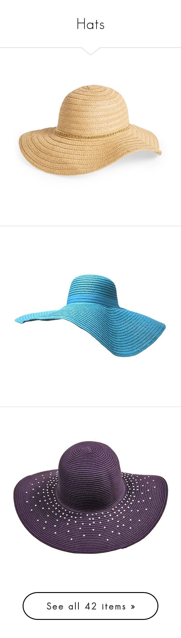 """Hats"" by thesassystewart on Polyvore featuring accessories, hats, hair accessories, natural, floppy straw hat, summer straw hats, straw hat, floppy summer hat, summer hats and turquoise"