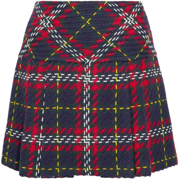 Miu Miu Pleated tartan wool-tweed mini skirt ($1,045) ❤ liked on Polyvore featuring skirts, mini skirts, bottoms, gonne, miu miu, tartan miniskirts, wool mini skirt, short mini skirts and tartan mini skirt