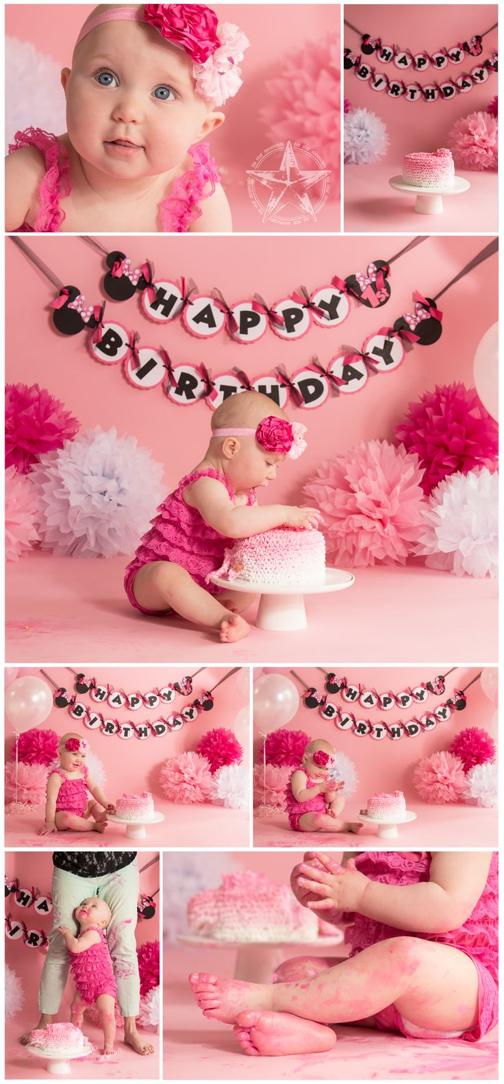 1st birthday cake smash, baby girl birthday, pretty in pink, pink ombre cake, minnie mouse birthday