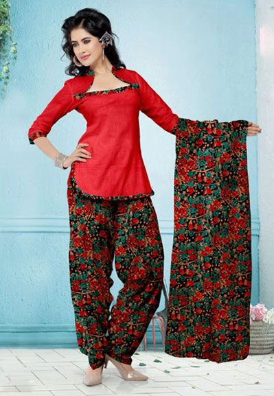 USD 29.08 Red Printed Cotton Patiala Salwar Suit   37523