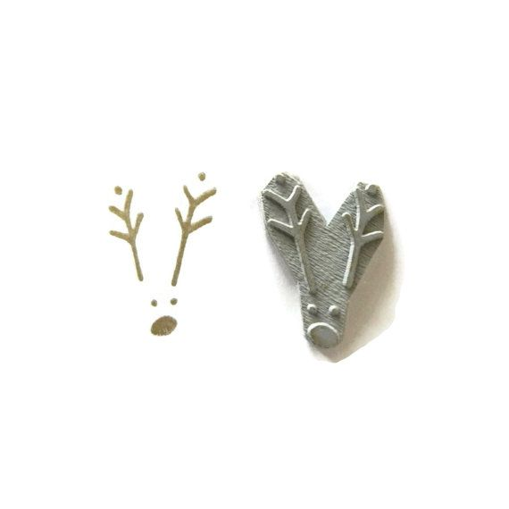 Minimal Reindeer Stamp - Christmas Holiday Rubber Stamp - Cling Rubber Stamp