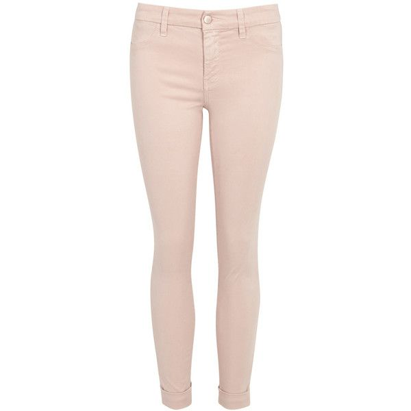 J Brand Anja pink cropped Luxe Sateen skinny jeans ($271) ❤ liked on Polyvore featuring jeans, pants, cropped jeans, skinny leg jeans, peach jeans, peach skinny jeans and super skinny jeans