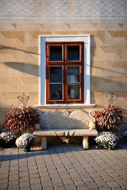 Autumn descoartions outside the Burgerhaus Hotel, Rust ( Hungarian: Ruszt ) on the Neusiedler See, Burgenland, Austria