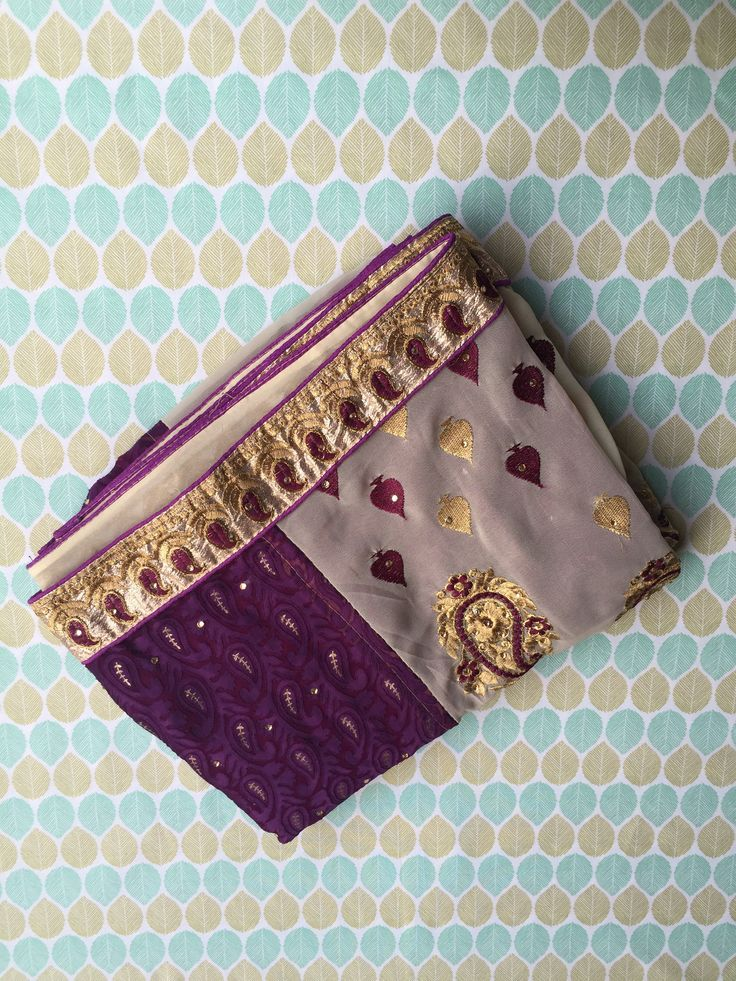 Purple and Grey Georgette Jacquard Saree with Blouse