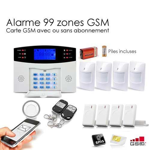 Alarme Maison Sans fil GSM , 99 zones Prix : 199€ Transmetteur d'alerte téléphonique : lors d'une intrusion, votre centrale appellera jusqu'à 6 numéros de téléphone et enverra un SMS à 3 numéros de téléphone distincts que vous aurez préalablement enregistrés (fixes ou mobiles), afin de vous prévenir vos proches ou vous-même.